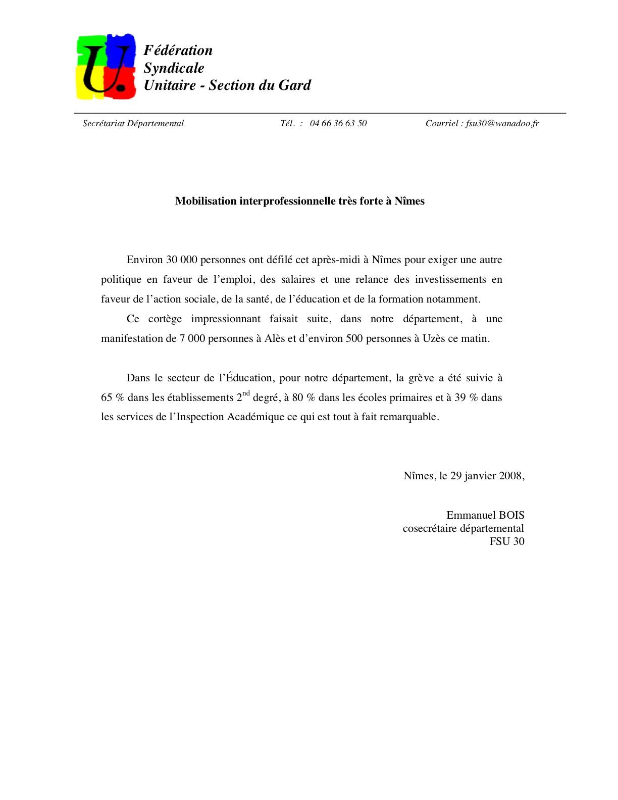 Communiqué FSU 29/01/09