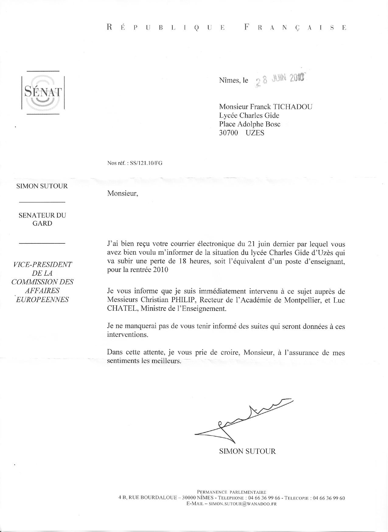 modele de lettre administrative en forme personnelle