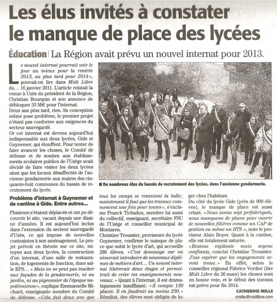 Action lycées d'Uzès dans le Midi Libre dans Actualités ml-action-lycees